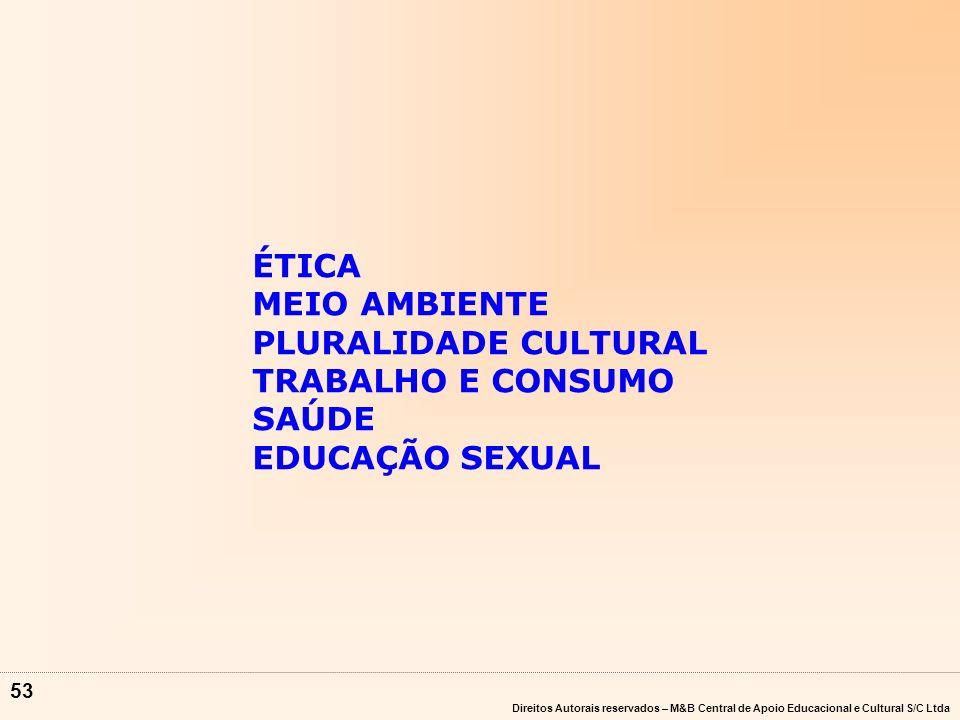 ÉTICA MEIO AMBIENTE PLURALIDADE CULTURAL TRABALHO E CONSUMO SAÚDE EDUCAÇÃO SEXUAL