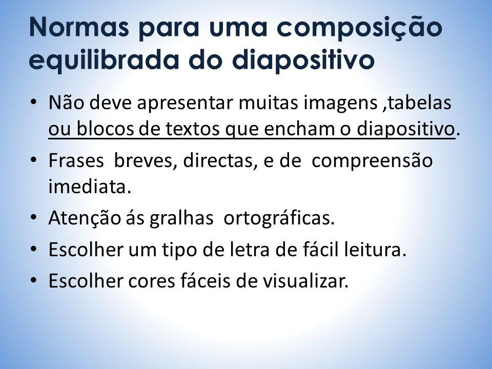 Normas para uma composição equilibrada do diapositivo