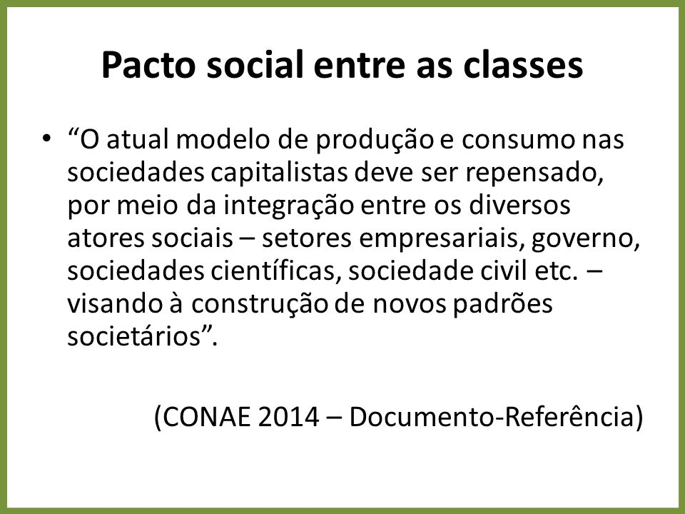 Pacto social entre as classes