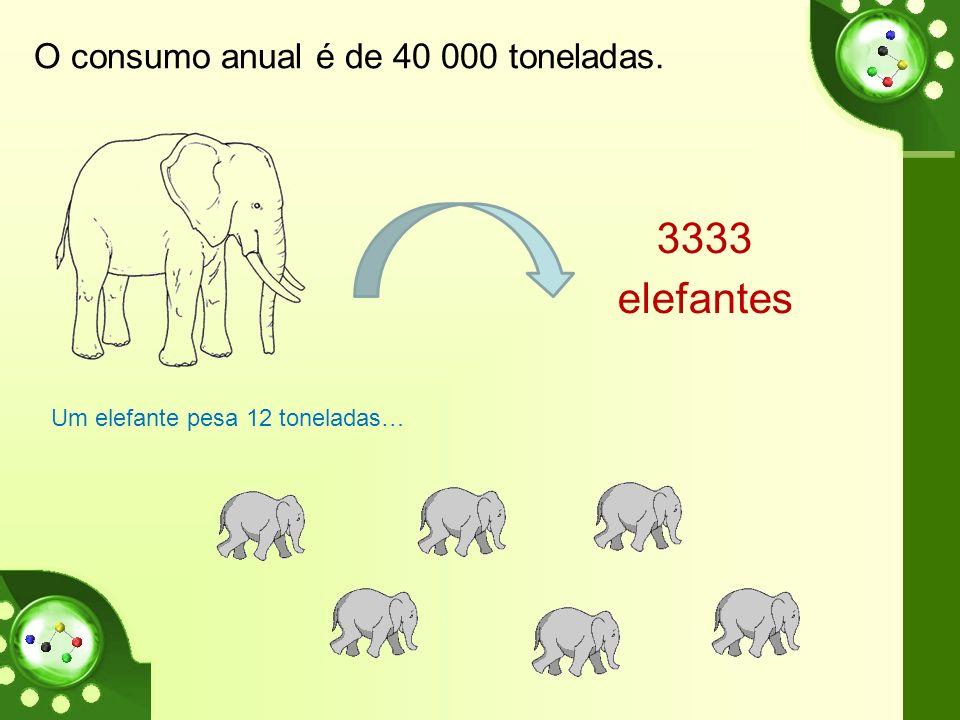 Um elefante pesa 12 toneladas…