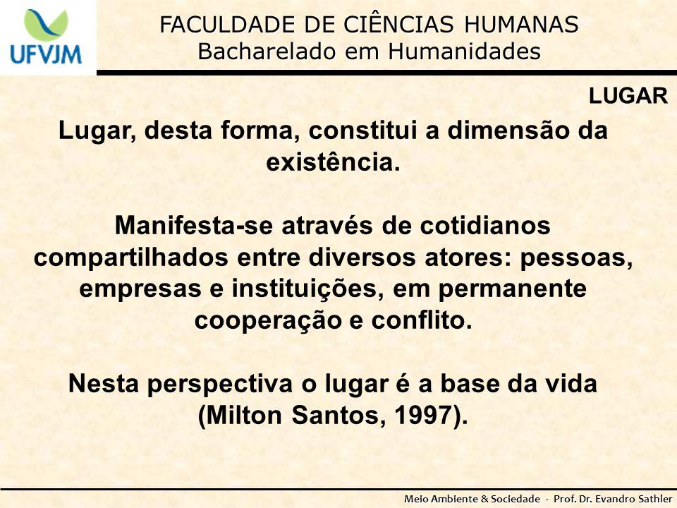 Lugar, desta forma, constitui a dimensão da existência.