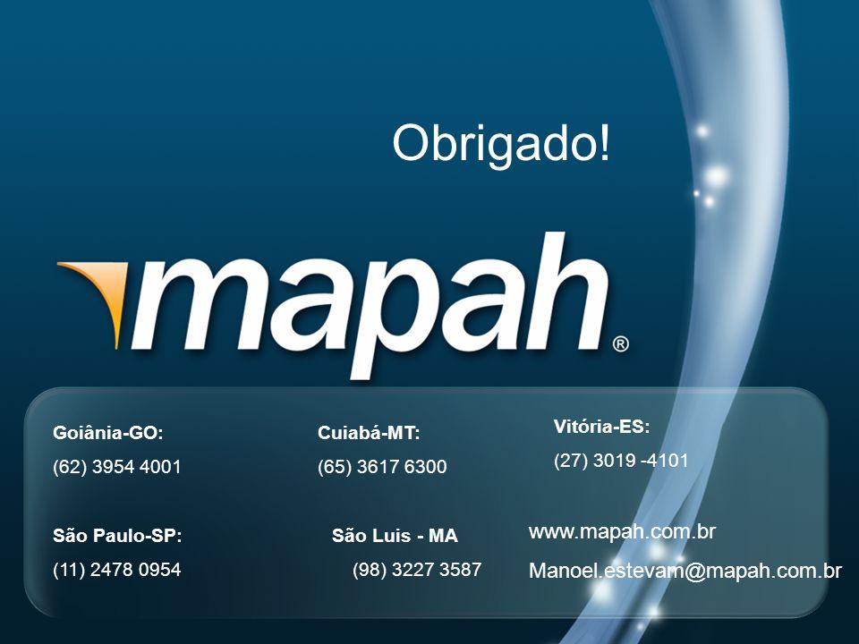 Obrigado! www.mapah.com.br Manoel.estevam@mapah.com.br Vitória-ES: