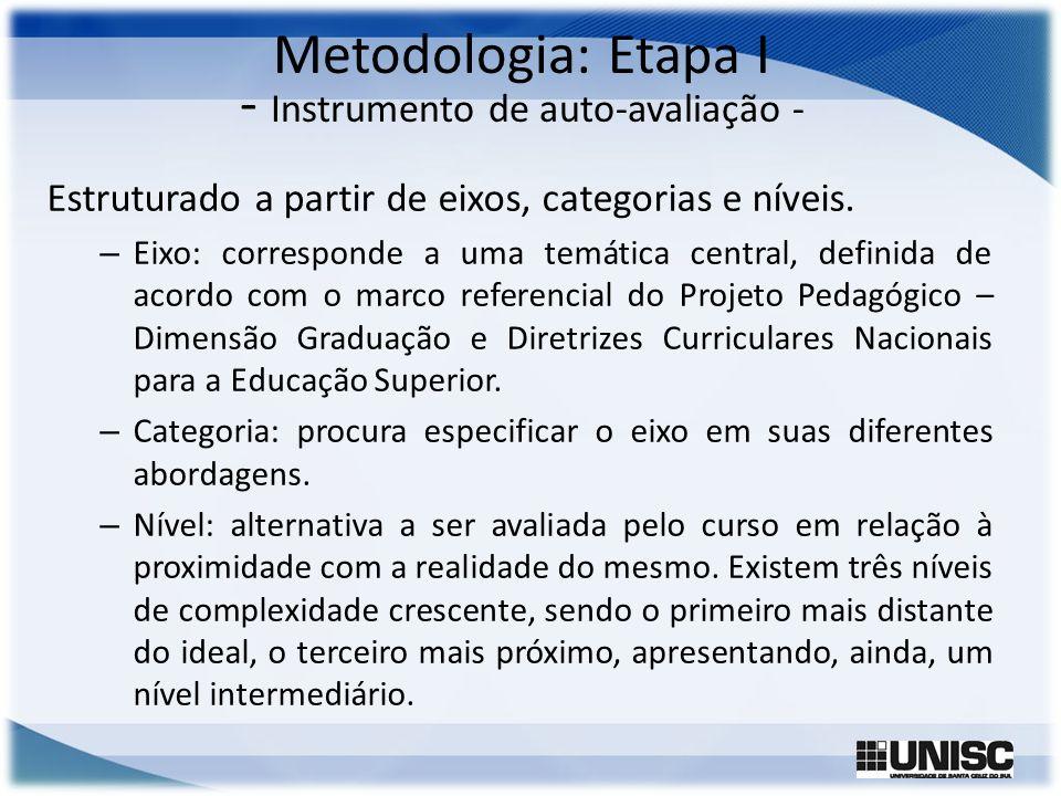 Metodologia: Etapa I - Instrumento de auto-avaliação -