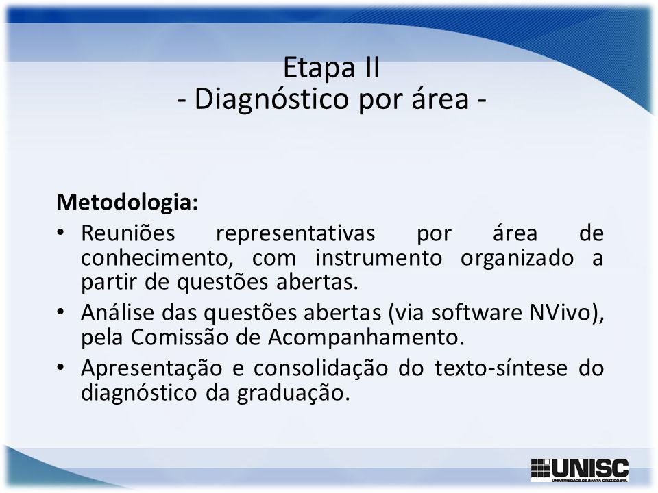 Etapa II - Diagnóstico por área -