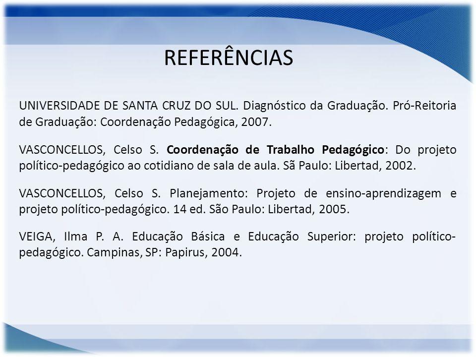 REFERÊNCIAS UNIVERSIDADE DE SANTA CRUZ DO SUL. Diagnóstico da Graduação. Pró-Reitoria de Graduação: Coordenação Pedagógica, 2007.