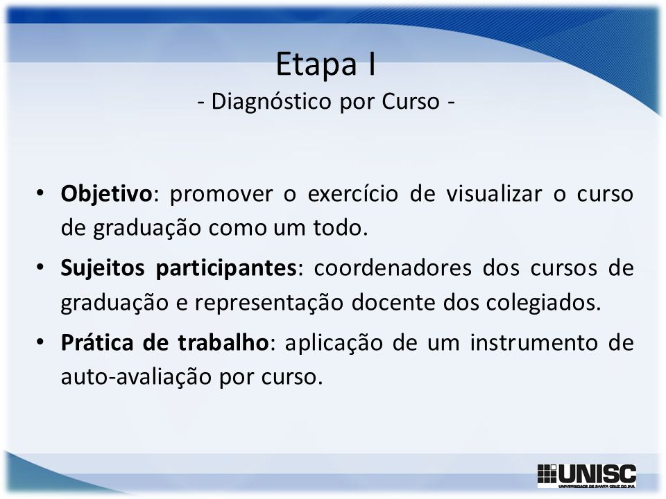 Etapa I - Diagnóstico por Curso -