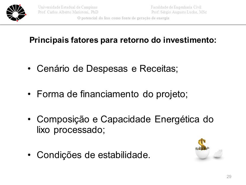 Cenário de Despesas e Receitas; Forma de financiamento do projeto;