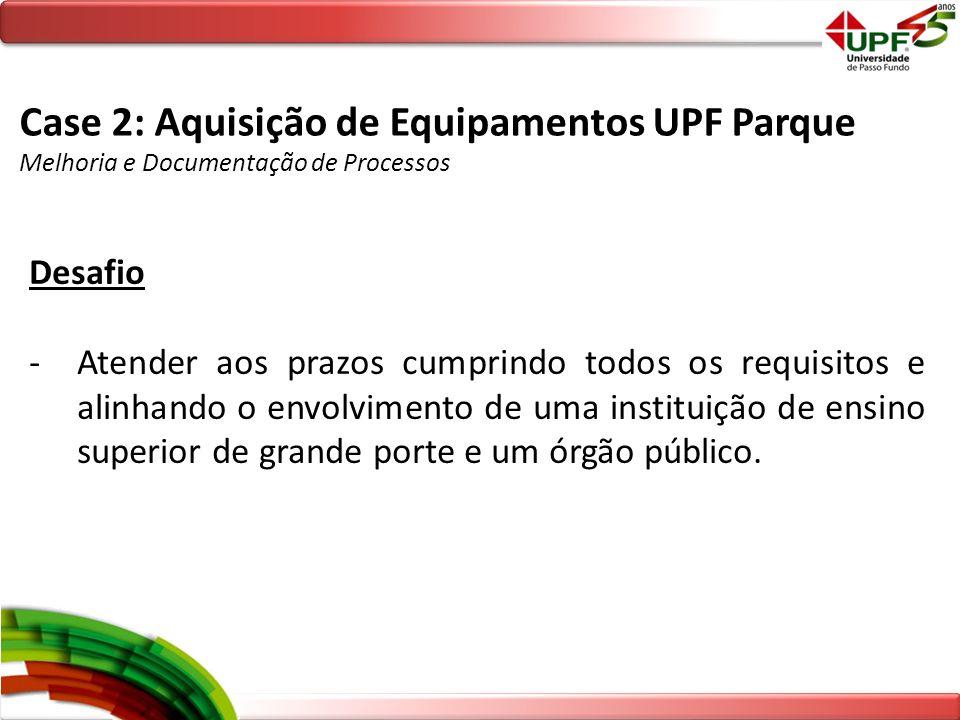 Case 2: Aquisição de Equipamentos UPF Parque
