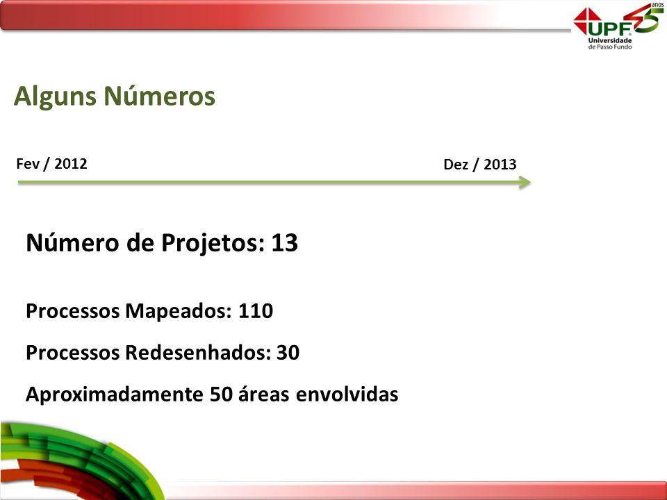 Alguns Números Número de Projetos: 13 Processos Mapeados: 110