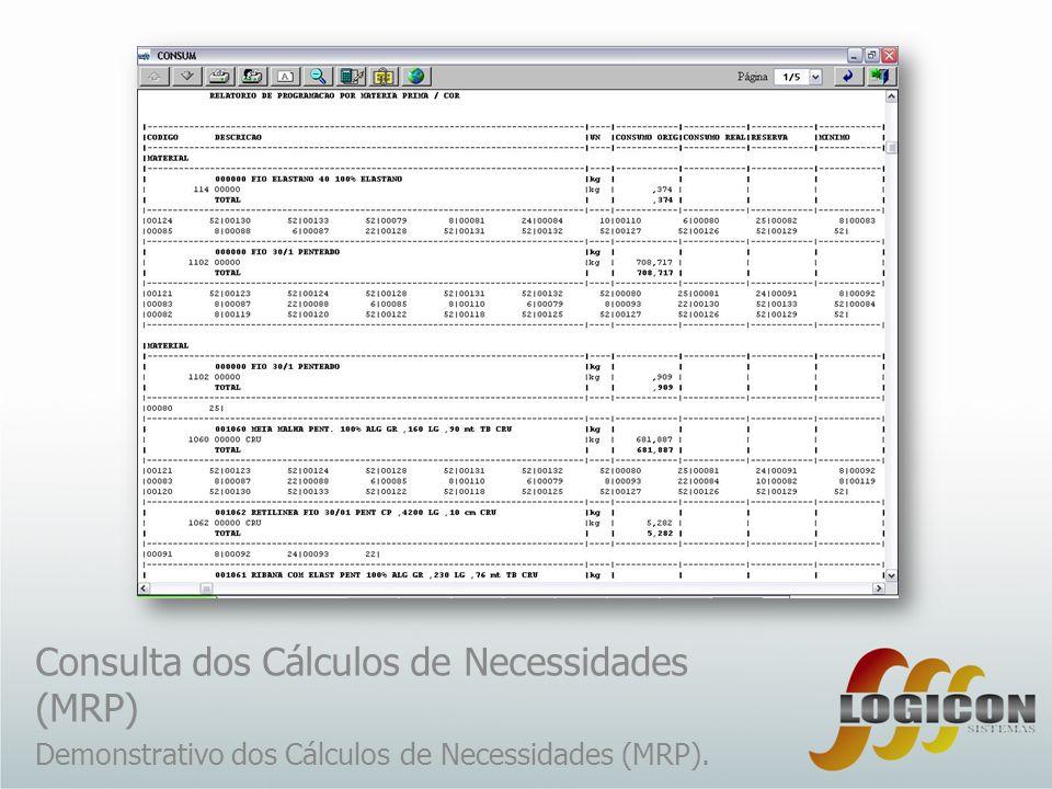 Consulta dos Cálculos de Necessidades (MRP)