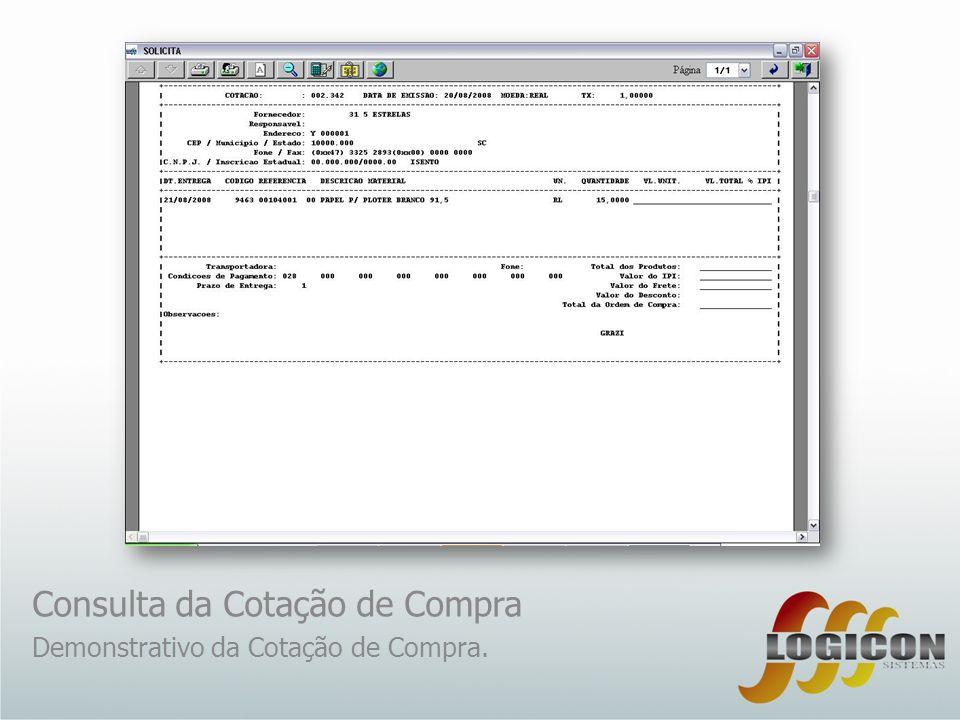 Consulta da Cotação de Compra
