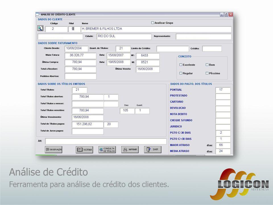 Análise de Crédito Ferramenta para análise de crédito dos clientes.