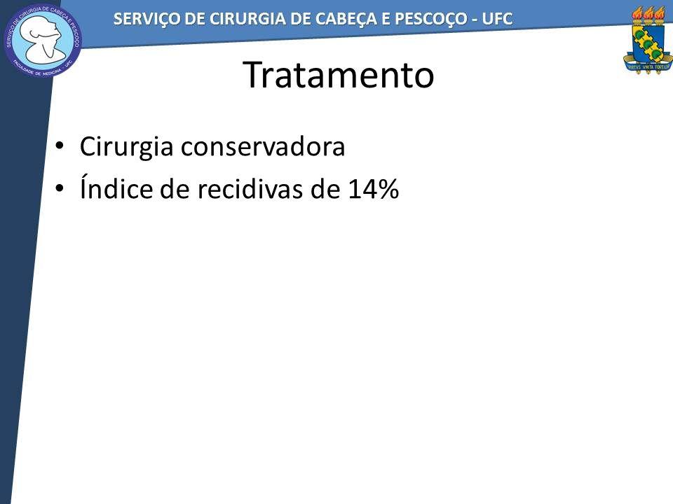 Tratamento Cirurgia conservadora Índice de recidivas de 14%