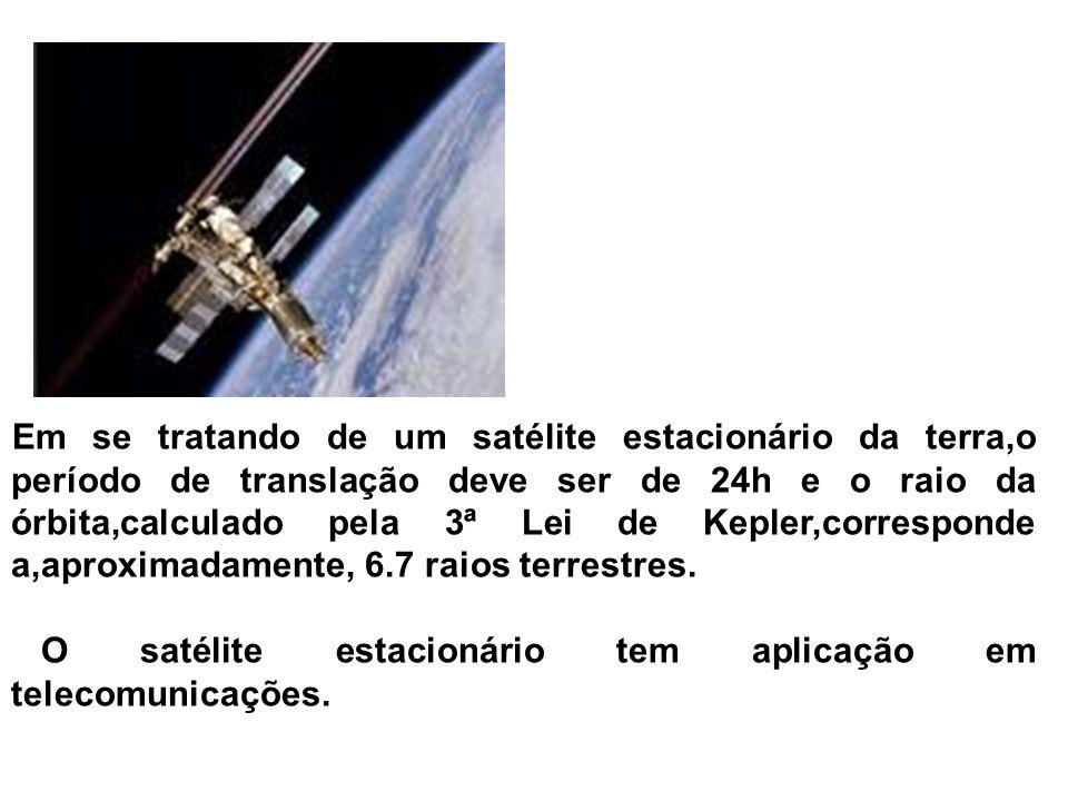 Em se tratando de um satélite estacionário da terra,o período de translação deve ser de 24h e o raio da órbita,calculado pela 3ª Lei de Kepler,corresponde a,aproximadamente, 6.7 raios terrestres.