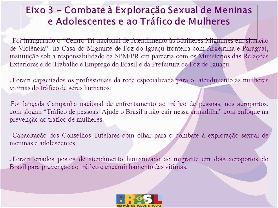 Eixo 3 – Combate à Exploração Sexual de Meninas e Adolescentes e ao Tráfico de Mulheres
