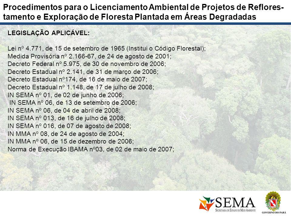Procedimentos para o Licenciamento Ambiental de Projetos de Reflores-