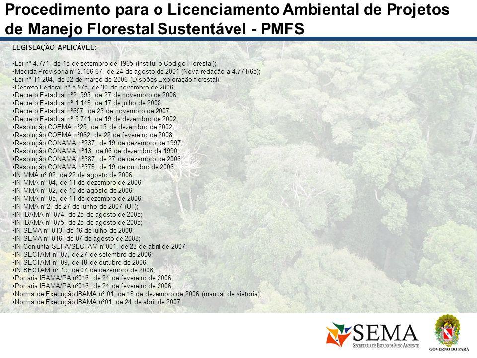 Procedimento para o Licenciamento Ambiental de Projetos de Manejo Florestal Sustentável - PMFS
