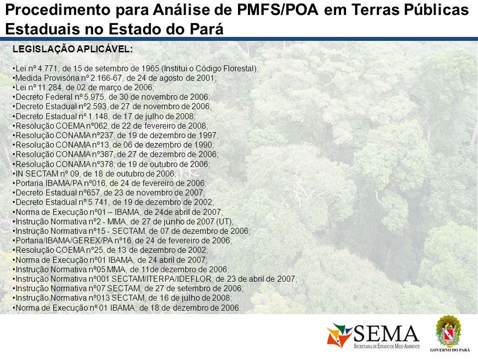 Procedimento para Análise de PMFS/POA em Terras Públicas Estaduais no Estado do Pará