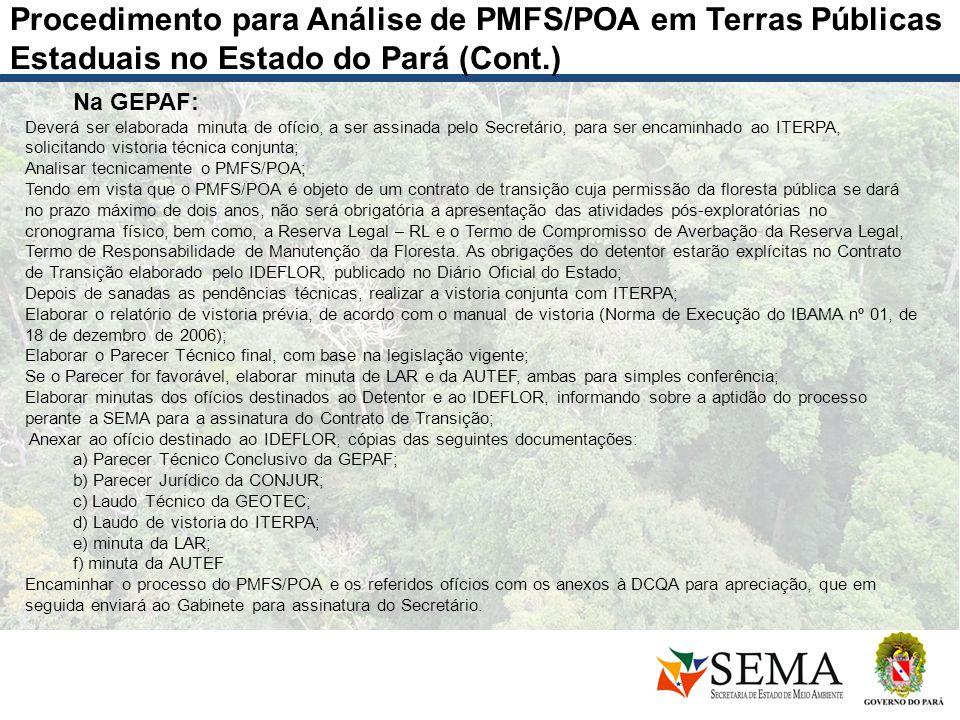 Procedimento para Análise de PMFS/POA em Terras Públicas Estaduais no Estado do Pará (Cont.)