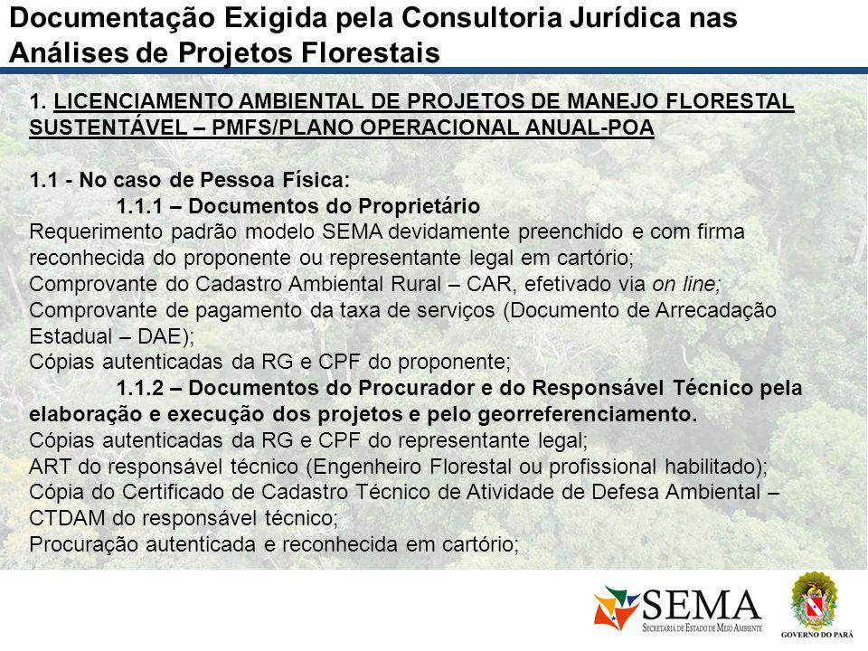 Documentação Exigida pela Consultoria Jurídica nas Análises de Projetos Florestais