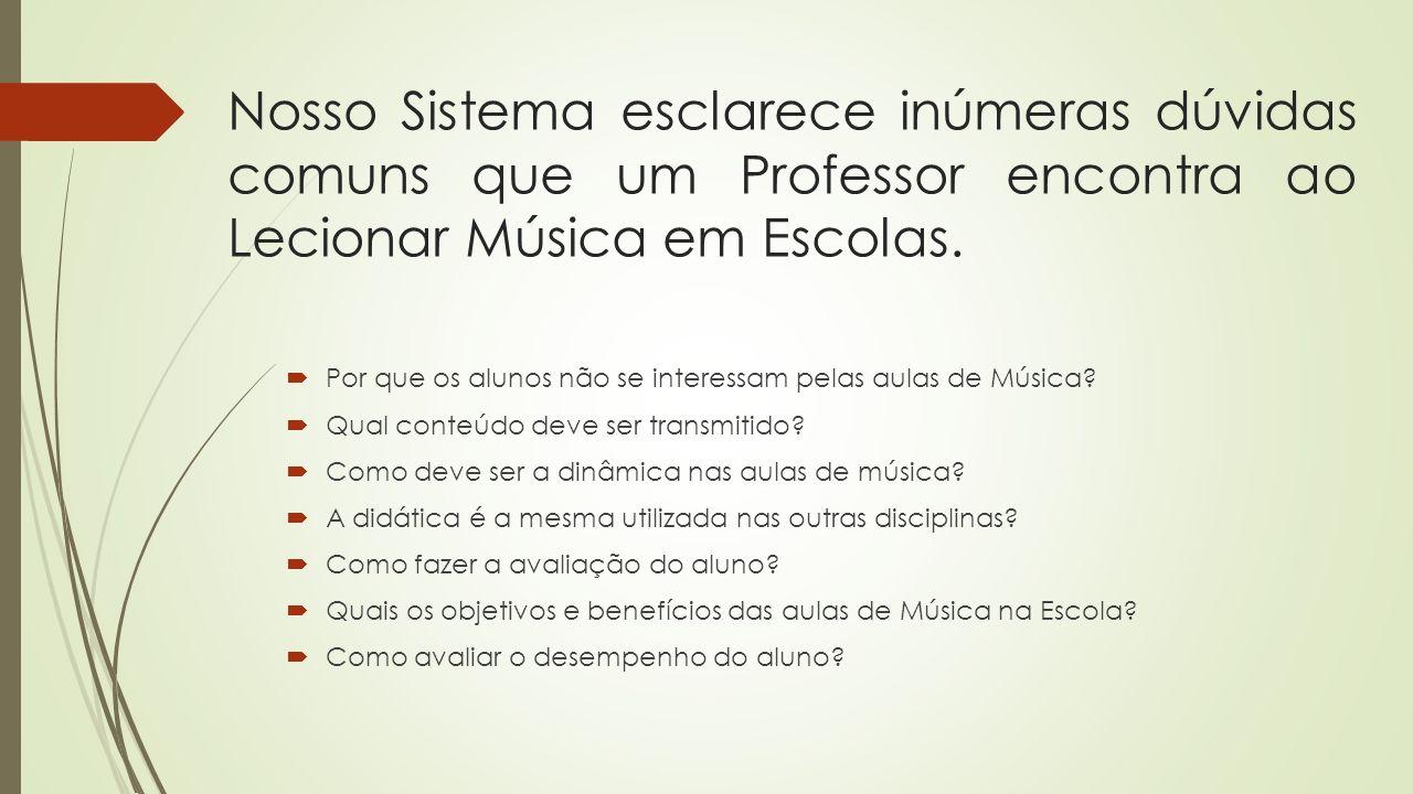 Nosso Sistema esclarece inúmeras dúvidas comuns que um Professor encontra ao Lecionar Música em Escolas.