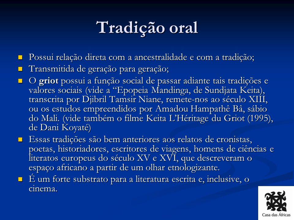 Tradição oral Possui relação direta com a ancestralidade e com a tradição; Transmitida de geração para geração;