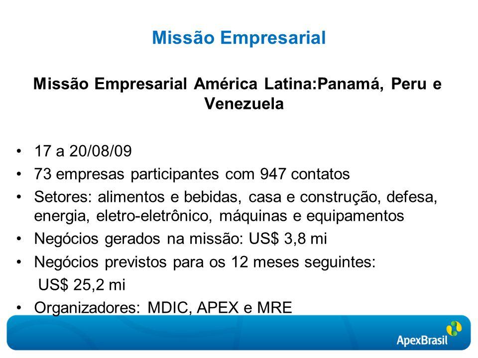 Missão Empresarial América Latina:Panamá, Peru e Venezuela
