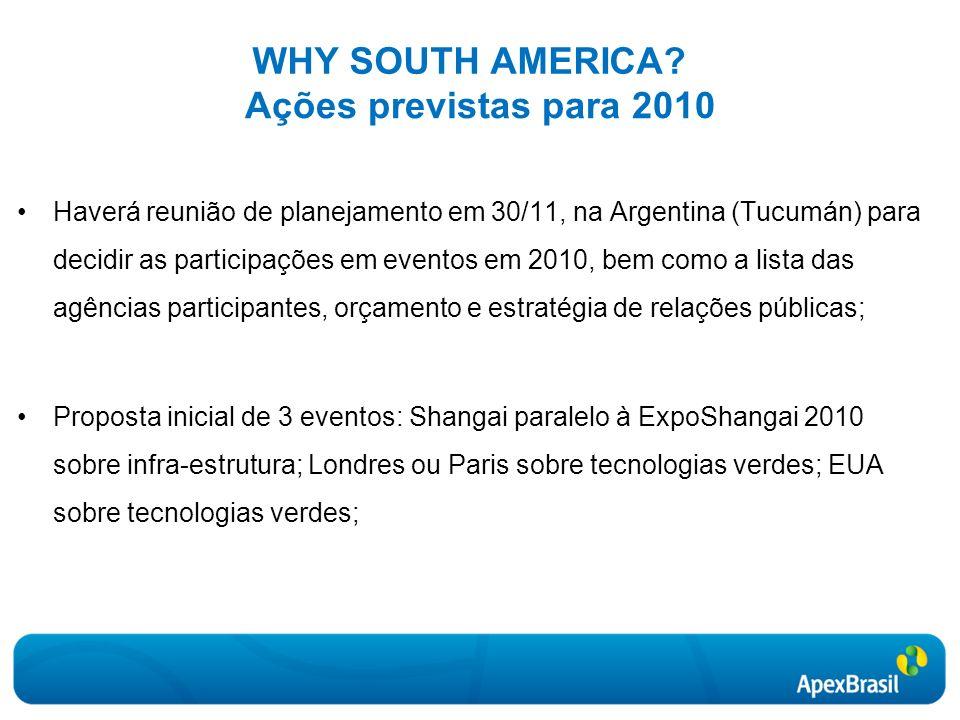 WHY SOUTH AMERICA Ações previstas para 2010