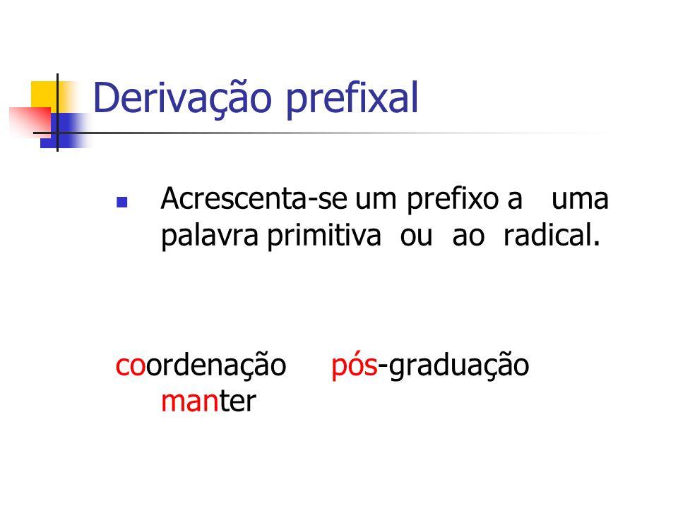 Derivação prefixal Acrescenta-se um prefixo a uma palavra primitiva ou ao radical.