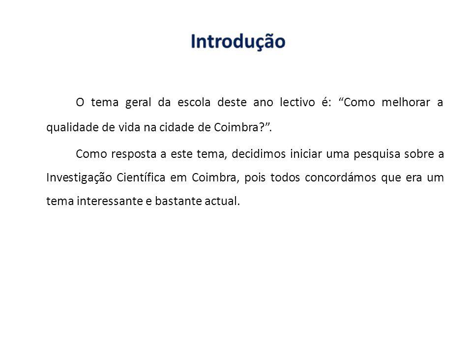Introdução O tema geral da escola deste ano lectivo é: Como melhorar a qualidade de vida na cidade de Coimbra .