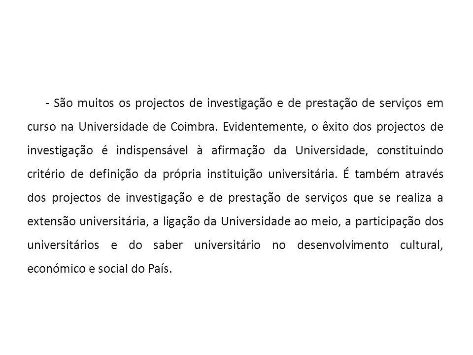- São muitos os projectos de investigação e de prestação de serviços em curso na Universidade de Coimbra.