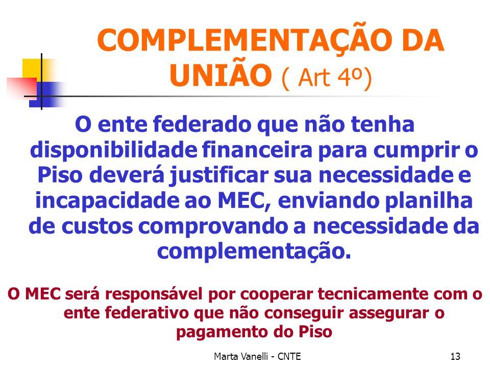 COMPLEMENTAÇÃO DA UNIÃO ( Art 4º)