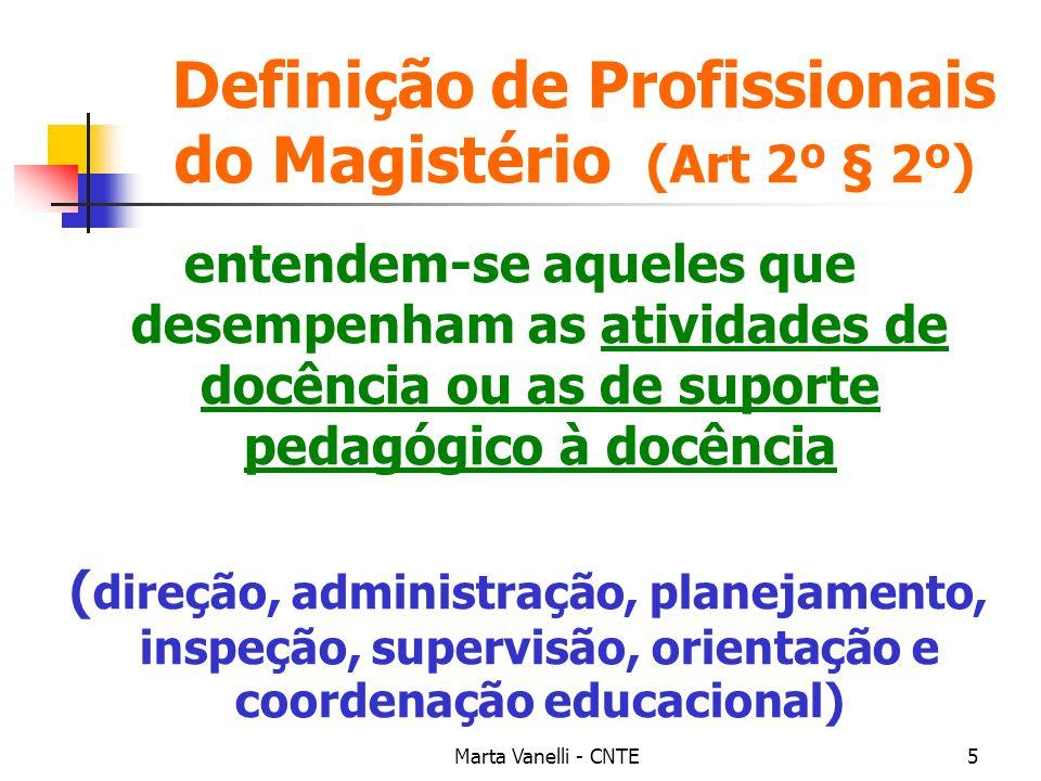 Definição de Profissionais do Magistério (Art 2º § 2º)
