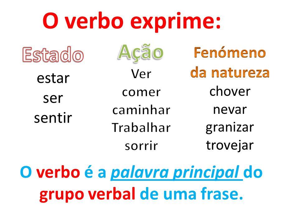 O verbo é a palavra principal do grupo verbal de uma frase.
