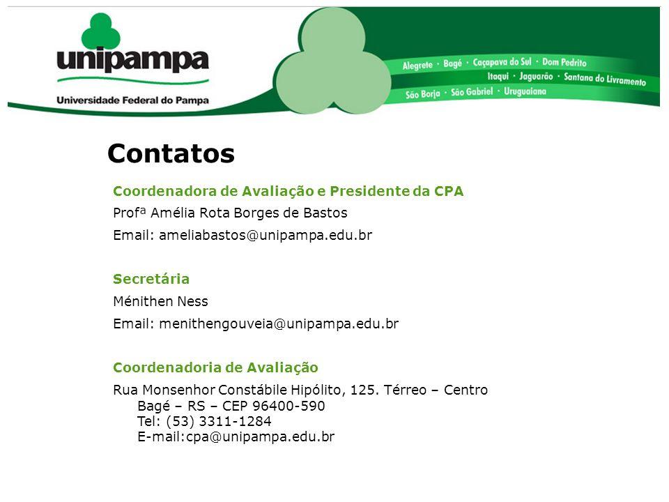 Contatos Coordenadora de Avaliação e Presidente da CPA