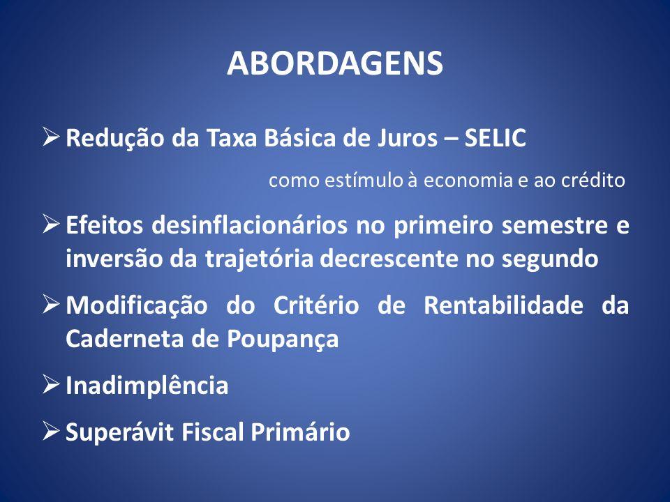 ABORDAGENS Redução da Taxa Básica de Juros – SELIC
