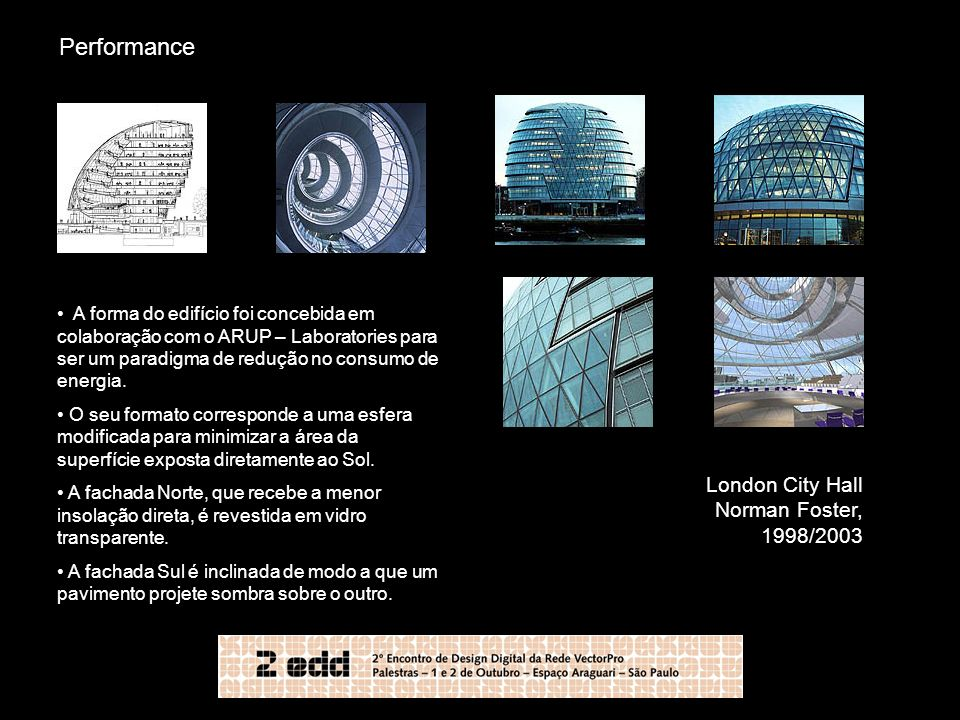 Performance London City Hall Norman Foster, 1998/2003