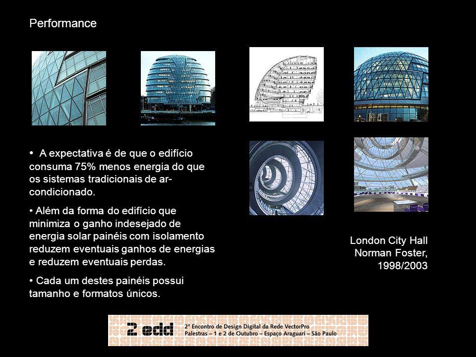 Performance A expectativa é de que o edifício consuma 75% menos energia do que os sistemas tradicionais de ar-condicionado.