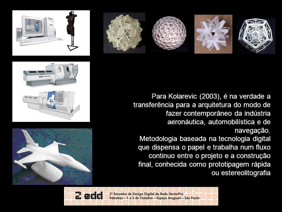 Para Kolarevic (2003), é na verdade a transferência para a arquitetura do modo de fazer contemporâneo da indústria aeronáutica, automobilística e de navegação.