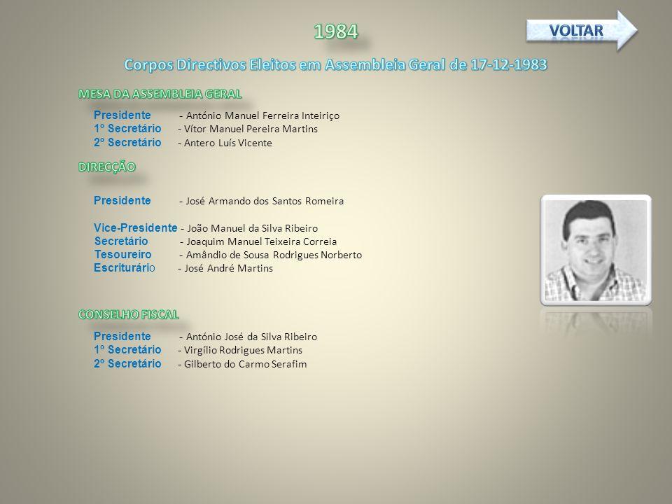 Corpos Directivos Eleitos em Assembleia Geral de 17-12-1983