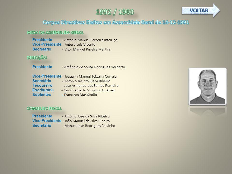 Corpos Directivos Eleitos em Assembleia Geral de 14-12-1991