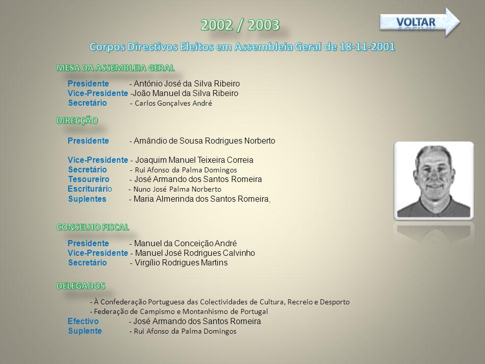 Corpos Directivos Eleitos em Assembleia Geral de 18-11-2001