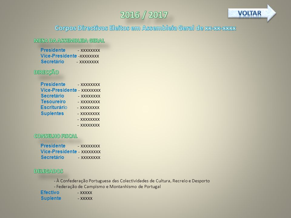Corpos Directivos Eleitos em Assembleia Geral de xx-xx-xxxx