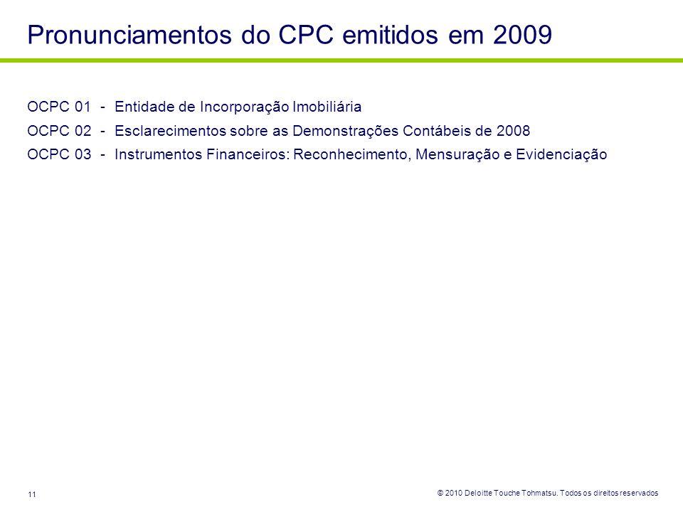 Pronunciamentos do CPC emitidos em 2009