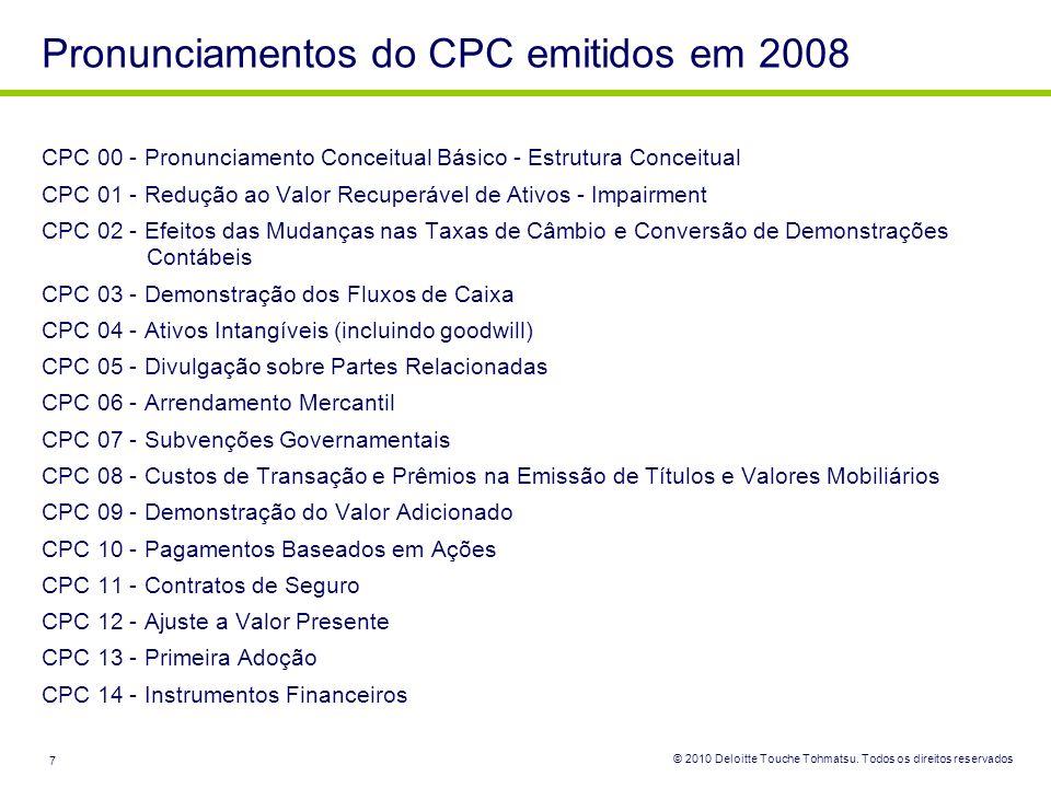 Pronunciamentos do CPC emitidos em 2008