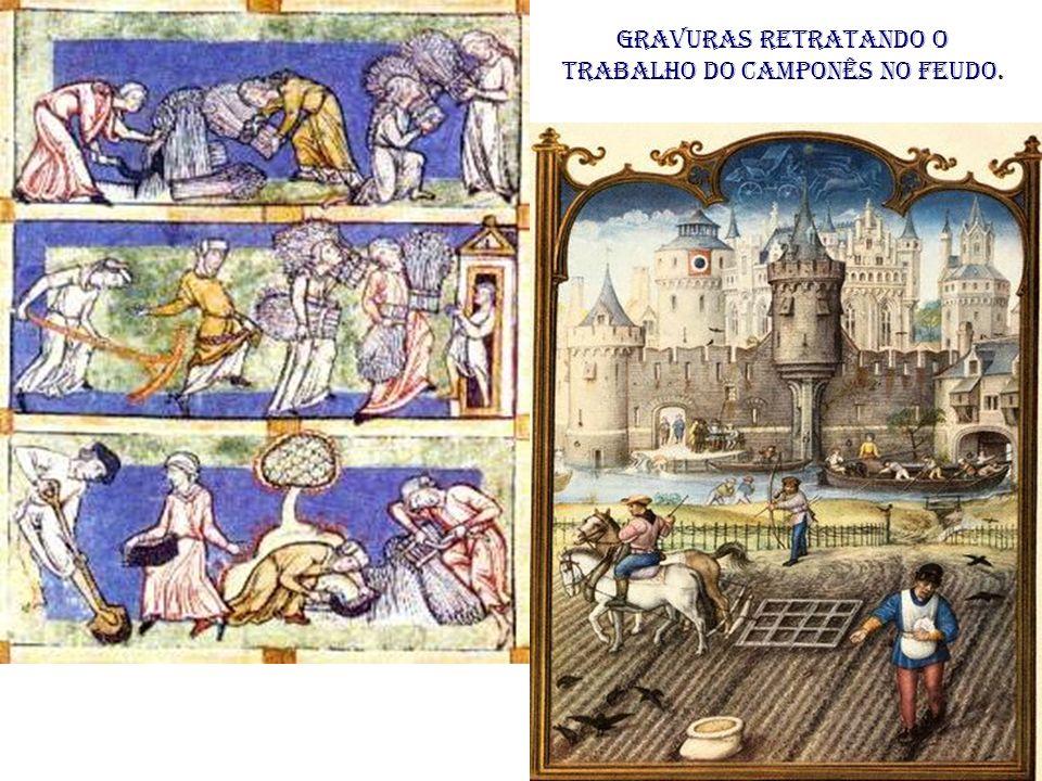 Gravuras retratando o trabalho do camponês no feudo.