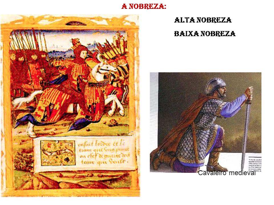 A nobreza: Alta Nobreza Baixa nobreza Cavaleiro medieval