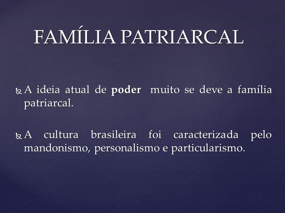 FAMÍLIA PATRIARCAL A ideia atual de poder muito se deve a família patriarcal.