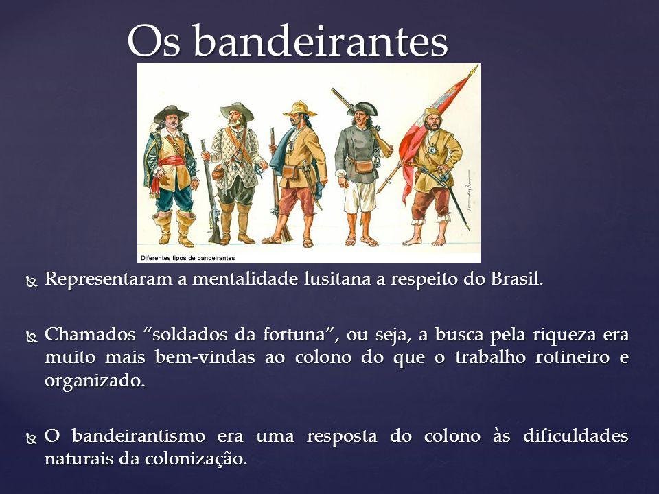 Os bandeirantes Representaram a mentalidade lusitana a respeito do Brasil.