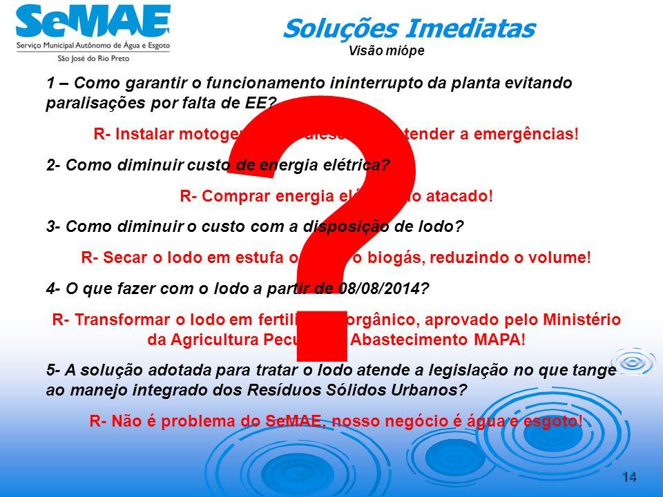 Soluções Imediatas. Visão miópe. 1 – Como garantir o funcionamento ininterrupto da planta evitando paralisações por falta de EE